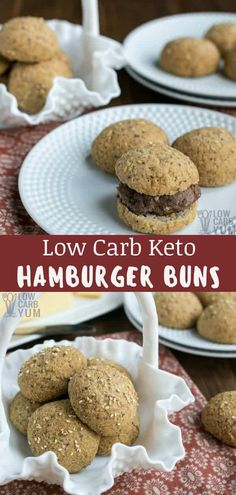 Low Carb Keto Hamburger Buns Recipe Lettuce wraps are great but a true burger needs to have a bun. Here's how to make low carb keto hamburger buns easily at home with little prep time! Low Carb Burger Buns, Keto Buns, Low Carb Recipes, Baking Recipes, Snack Recipes, Bread Recipes, Brunch Recipes, Easy Recipes, Keto Hamburger Bun Recipe