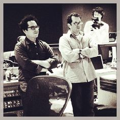 One of my favorite movie composers, Michael Giacchino, with JJ Abrams...recording Star Trek Into Darkness.