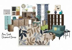 Home Office design/mood board created for a client by Amy Smith, Organized Design in Charlottesville, VA