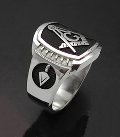 Masonic Ring in Sterling Silver Cigar Band by ProLineDesigns