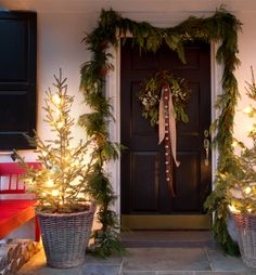 A Warm Welcome Home: We're making an entrance with sleigh bells, string lights, baskets, and more at terrain.