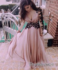 Modest prom dress, maxi dress, v-neck long ball gown, long sleeve chiffon occasion dress for teens sweetheartdress.s... #coniefox #2016prom