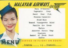 Malayan Airways in-flight menu