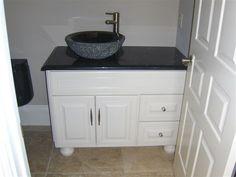 Custom white bath cabinet