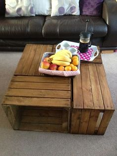 3 vintage/rustic wooden apple crates - for storage boxes/display, lighter colour | eBay