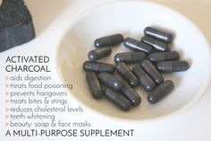 One teaspoon of activated charcoal has a surface area of approximately 10 000 square feet. It adsorbs and helps eliminate toxins, heavy metals, chemicals, pharmaceutical drugs, morphine, pesticides from your body.