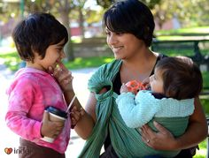 Babywearing is a great way to keep little ones close while caring for older kids! Inda Jani ring sling from 5mr.com