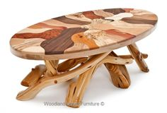 Unique Rustic Coffee Table with Mosaic Wood Top.  Available in custom sizes by Woodland Creek Furniture.