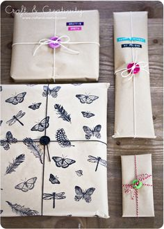 Stamped gift wrapping paper - by Craft & Creativity