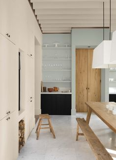 dark wood and pale blue kitchen with open shelving and large wooden table Kitchen Inspirations, House Design, House Interior, House, Kitchen Interior, Home Kitchens, Home, Home Deco, Home Decor
