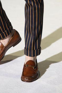Gucci Loafers, and Striped Navy Cuffed Chinos. Men's Spring/Summer Fashion.