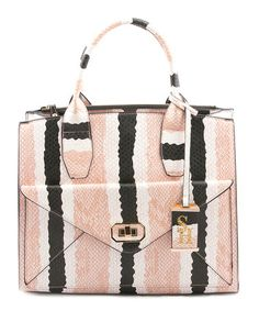 Love this Pale Pink & Snakeskin Stripe Steve Harvey Divinity Satchel by Steve Harvey on #zulily! #zulilyfinds