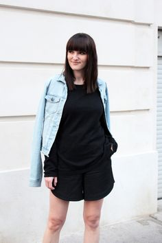 black shorts and other stories denim jacket vero moda