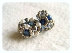 Beaded European Beads / Charms in Silver dark Blue and White by Beadwork & Coe