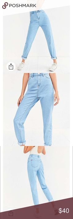 BDG Mom Jean - light blue Slouchy high-rise mom jean exclusively for UO by BDG. Sits at the natural waist with a straight, relaxed leg that tapers in at the ankle. Finished with 4 pockets and a button-topped zip fly. No tags but they are new/never worn. BDG Jeans Boyfriend