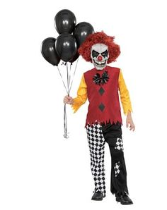 the last laugh clown halloween costume includes a creepy white clown mask with attached red hair a red shirt with yellow sleeves and a pair - Scary Halloween Costumes For Children