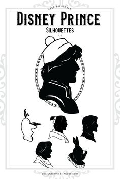 FREE Disney Prince Silhouettes v.2 - Designs By Miss Mandee. 6 handsome heroes to pair with their princesses. Printable and SVG cut files included. See Phoebus, Kristoff, Olaf, Flynn Rider, the White Rabbit, and Li Shang. #Disney #DisneyPrince #DisneyPrinces #FREESVG #PaperCraft #DitCut Disney Silhouette Art, Disney Princess Silhouette, Disney Silhouettes, Silhouette Cameo, Silhouette Projects, Disney Diy, Disney Crafts, Baby Disney, Disney Love