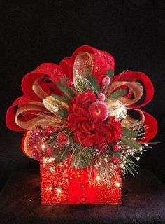 ❄☃ Seasons ❄☃❄ Winter Wonderland ☃❄ illuminated red christmas present