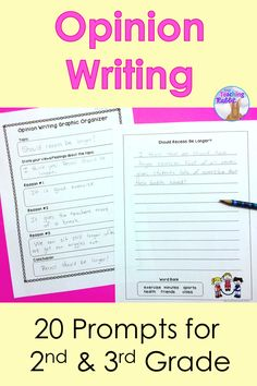 Use these 20 opinion writing prompts to give your students ideas to start writing about their opinions!  Good for 2nd & 3rd grade.