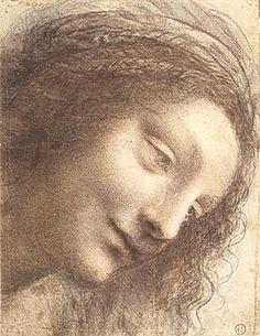 Leonardo da Vinci Head of the Virgin in Three Quarter View ~ From the exhibition Leonardo da Vinci, Master Draftsman Metropolitan Museum, New York