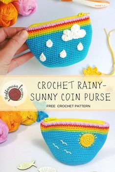 Crochet Rainy-Sunny Coin Purse - Free Pattern The Crochet Rainy-Sunny Coin Purse is easy and fun to crochet. And remember, it's always sunny so Crochet Coin Purse, Crochet Pouch, Crochet Purses, Knit Or Crochet, Crochet Gifts, Free Crochet, Knitting Patterns, Crochet Patterns, Crochet For Beginners