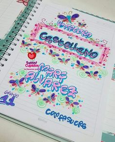 Typography, Lettering, Decorate Notebook, Notebook Covers, Diy And Crafts, Bullet Journal, Ideas Para, Activities, School