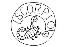 Scorpio Zodiac Sign Coloring Page Zodiac Signs Colors, Zodiac Signs Aquarius, Scorpio Zodiac, Space Coloring Pages, Mandala Coloring Pages, Coloring Pages For Kids, 12 Signs, Zodiac Constellations, Kids Coloring Pages