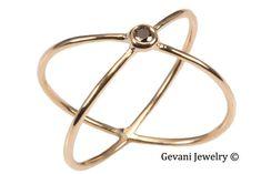 Single Diamond Criss Cross Gold Ring by GevaniJewelry on Etsy, $195.00