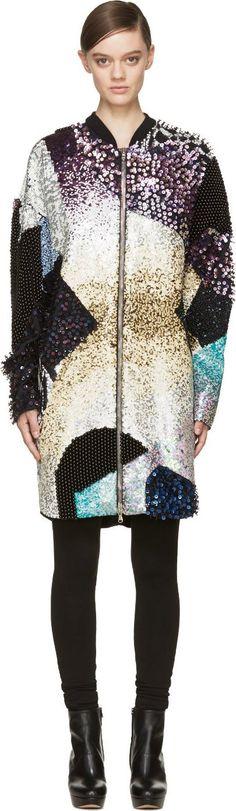 3.1 Phillip Lim Black Sequinned & Beaded Coat: Luxe winter warmth!