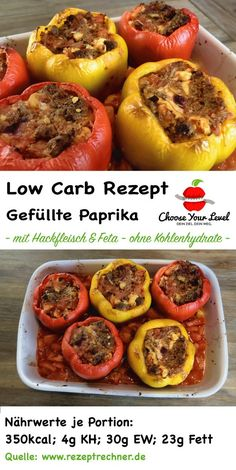 low carb gefüllte paprika mit hackfleisch und feta – low carb gerichte – gefül… low carb stuffed peppers with minced meat and feta – low carb dishes – stuffed low carb peppers – low carb recipe paprika stuffed Crab Meat Recipes, Meat Recipes For Dinner, Low Carb Recipes, Crockpot Recipes, Chicken Recipes, Healthy Recipes, Crockpot Meat, Law Carb, Low Carb Stuffed Peppers