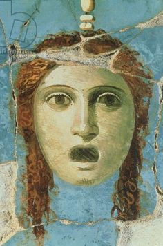 Wall painting of a female head (1st century AD) - Pompeii (Italy)