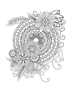 Find Floral Mandala Pattern Black White Adult stock images in HD and millions of other royalty-free stock photos, illustrations and vectors in the Shutterstock collection. Flower Coloring Pages, Mandala Coloring Pages, Coloring Book Pages, Mandala Drawing, Mandala Painting, Mandala Art, Unique Drawings, Art Drawings Sketches, Pencil Drawings