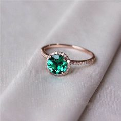 Emerald Engagement Ring Emerald Ring Halo by OliveAvenueJewelry $625