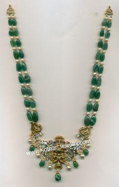 Pearl Necklace Designs, Jewelry Design Earrings, Emerald Jewelry, Beaded Jewelry, Emerald Pendant, Emerald Necklace, Bead Jewellery, Antique Jewellery, Diamond Jewellery