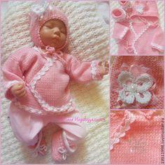 Комплект Нежно-розовый - бледно-розовый,комплект вязаный,комплект на выписку