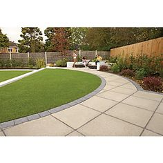 Saxon paving is a non-slip slab featuring real Yorkstone aggregates for a lightly textured, contemporary look. Saxon paving complements all types of gardens, large or small. Back Garden Design, Garden Design Plans, Modern Garden Design, Backyard Garden Design, Garden Landscape Design, Circular Garden Design, Back Gardens, Outdoor Gardens, East Facing Garden