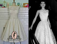 Audrey Hepburn Wedding Dress-Oscar Dress In Lace-Short Wedding Dress--1950s Bridal-Bespoke Custom made to size on Etsy, $650.00