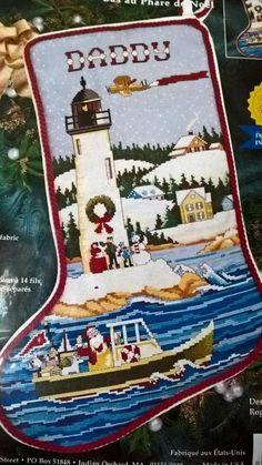 Janlynn Counted Cross Stitch Christmas Lighthouse Stocking Santa 1998 USA New  #Janlynn #Stocking