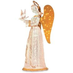 60 christmas angel with dove pre lit nativity scene display our 5 christmas angel holds a dove symbolizing peace this christmas decoration is designed mozeypictures Image collections