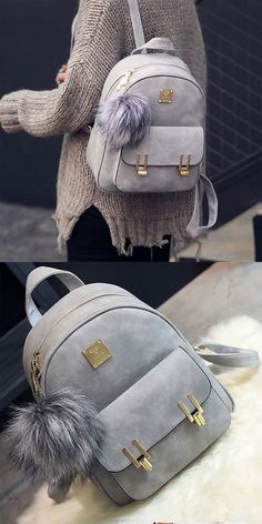 Fashion Frosted PU Zippered Backpack With Metal Lock Match School Bag Backpack is so cute ! #backpack #school #bag #lock #match #fashion