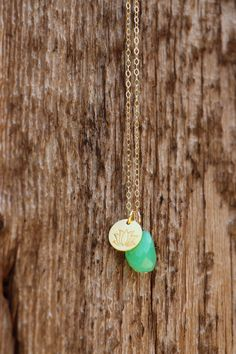 Chrysoprase Pendant Necklace, Yoga Lotus Flower, Gemstone Layer Necklace, Bright Green Chrysoprase Nugget, Gold Necklace, Trendy, Chic