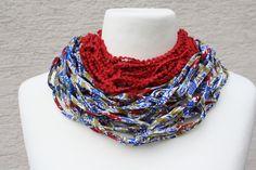 gemustert - Loop Schlauchschal rot blau Tuch Schal Mode   - ein Designerstück von trixies-zauberhafte-Welten bei DaWanda