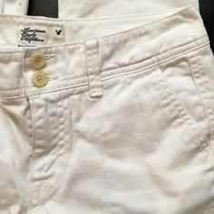 American Eagle white slacks Previously loved. 100% cotton. Great for spring & summer. Straight leg. American Eagle Outfitters Pants