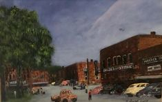 """""""The Courthouse Square in Barbourville, Kentucky"""" Original acrylic painting by Gearldine Scalf of Barbourville, KY. Knox County, Old Photos, Kentucky, Printable, The Originals, Artwork, Painting, Antique Photos, Work Of Art"""