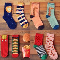 Brand Caramella Men Sport Long Socks For Cotton Spring Autumn Character Cartoon Lion Giraffe Socks Funny Lovers Socks 2pairs/lot