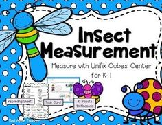 FREEBIE-Insect Measurement Math Center for with Nonstandard Units Measurement Kindergarten, Measurement Activities, Kindergarten Freebies, Math Measurement, Preschool Math, Kindergarten Activities, Fun Math, Math Games, Teaching Math