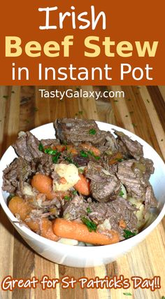 Irish Beef Stew made in Instapot Pressure Cooker is the best ever stew! Made with beef, potatoes, carrots, and onions and cooked in a savory broth, this is the only Irish beef stew recipe you need! CLICK to see how to make the most flavorful Beef Stew in your Instant Pot | TastyGalaxy.com Healthy Recipes On A Budget, Delicious Recipes, Healthy Dinner Recipes, St Patricks Day Food, Saint Patricks, Recipe Inspiration, Recipe Ideas, Slow Cooker Recipes, Beef Recipes
