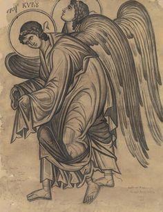 Κόντογλου Φώτης Αγγελοι Κυρίου, 1956. Archangels, Orthodox Icons, Byzantine Art, Medieval Art, Drawings, Paint Icon, Art, Christian Art, Order Of Angels