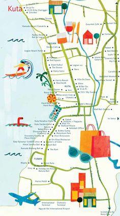 Astrid Prasetianti - Map of Kuta, Bali for hellobali magazine