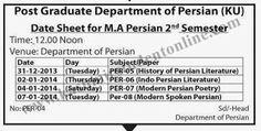 Date Sheet For M.A Persian 2nd Semester KU | Kashmir Student Online